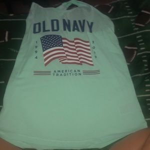 A Tea shirt (Old navy) with a flag on it